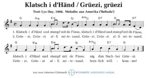 Klatsch i d'Händ (M: trad. aus Amerika / T: Lyz Day)